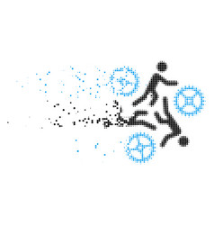 Running persons for gears disappearing pixel icon vector