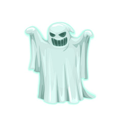 Scary ghost icon halloween object vector