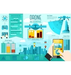 Set modern air drones infographic elements vector