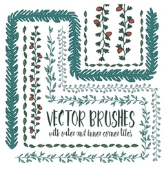 Set of hand drawn pattern brushes vector image