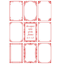 Set rectangular frames with red hearts vector