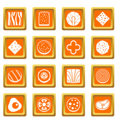 slice food ingredient icons set orange vector image