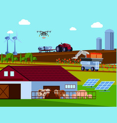 Smart farming orthogonal flat composition vector