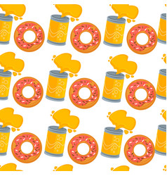 Soda and donut seamless pattern fast food and vector