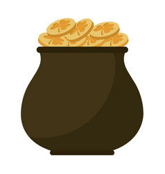 st patricks day gold cauldron treasure vector image
