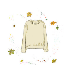 Stylish yellow pullover clothing on the vector