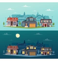 Suburban Houses Horizontal Banners vector