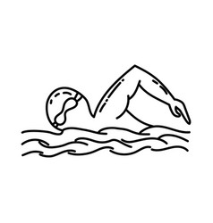 swimming like icon doodle hand drawn or outline vector image