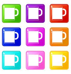 Tea mug icons 9 set vector