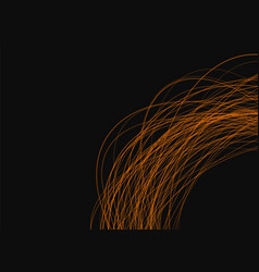thin orange lines on a black background vector image