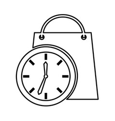 Time clock with shopping bag isolated icon vector
