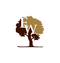 tree letter e w vector image
