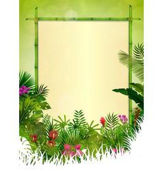 tropical background floral frame vector image vector image
