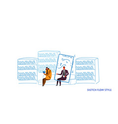 two men sitting couch reading book and using vector image