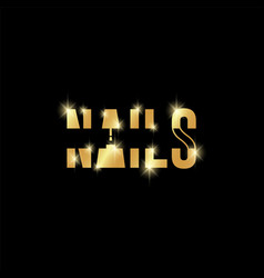 typography and minimalistic golden nails text logo vector image
