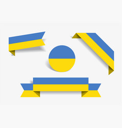 Ukrainian flag stickers and labels vector