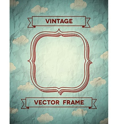 Vintage crumpled frame with clouds vector