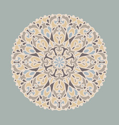 vintage round ornament in pale colors vector image