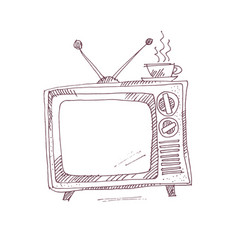 Vintage tv set in sketch graphic style vector