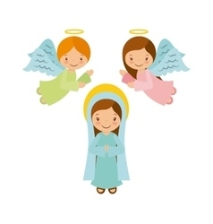 Virgin mary with angels vector