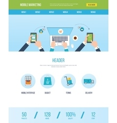 Web design template with icons of mobile marketing vector image