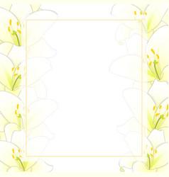 White lily flower banner card border vector