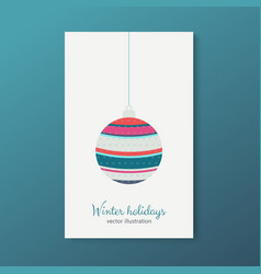 Winter holidays cards with trees colorful balls vector