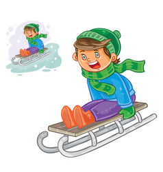 winter of small boy sledding vector image