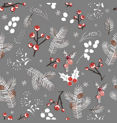 winter seamless white pattern with berries leaves vector image