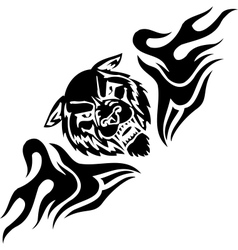 Wolf and symmetric tribals - vector image