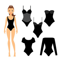 woman black underwear vector image