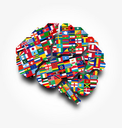 world flags and brain creative idea concept vector image