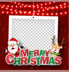 xmas photo frame with santa claus and reindeer vector image