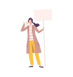 young woman standing with blank signboard claiming vector image