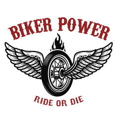 biker power wheel with wings vector image vector image