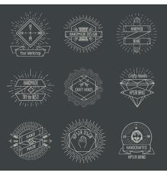 Handmade logo or crafts emblems vintage set vector