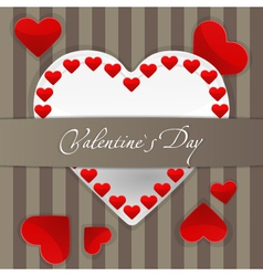 Postcard with big white paper heart and small red vector image