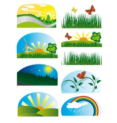 collection of elements of nature vector image vector image