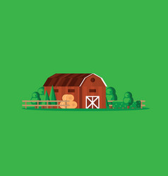 farm barn with haystacks on green background vector image vector image