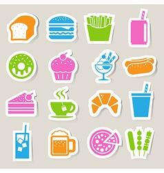 Food drinks sticker icon set vector