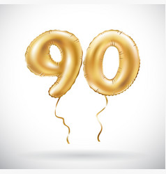 golden number 90 ninety metallic balloon party vector image vector image