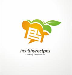healthy recipes cooking inspiration creative logo vector image vector image