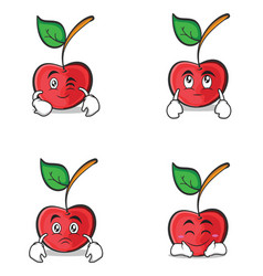 cherry character cartoon style of set vector image vector image