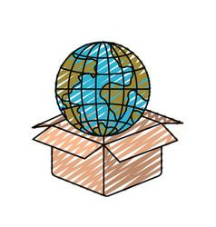 Color crayon silhouette globe earth world coming vector