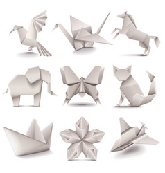 Origami icons set vector image