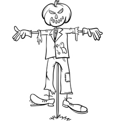 scarecrow cartoon for coloring book vector image vector image
