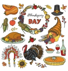 Thanksgiving day doodle iconswreathColorful set vector image