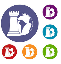 world planet and chess rook icons set vector image vector image