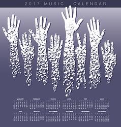 A creative 2017 musical calendar made hands vector image
