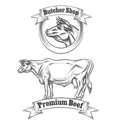 Premium beef meat label butcher emblems or vector image